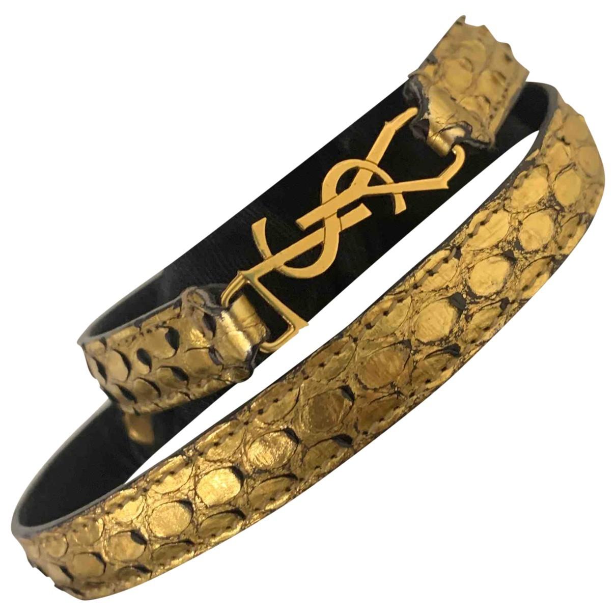 Saint Laurent Monogramme Armband in  Gold Python