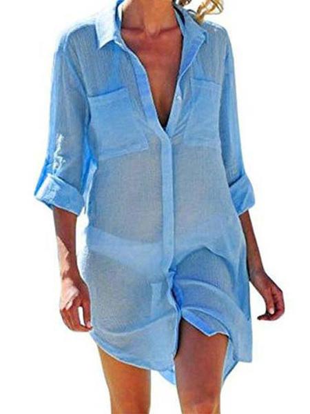 Milanoo Cover Ups Shirt Dress For Women Long Sleeves Sheer Summer Sexy Swimwear