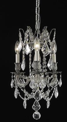 9203D13PW/RC 9203 Rosalia Collection Hanging Fixture D13in H18in Lt: 3 Pewter Finish (Royal Cut