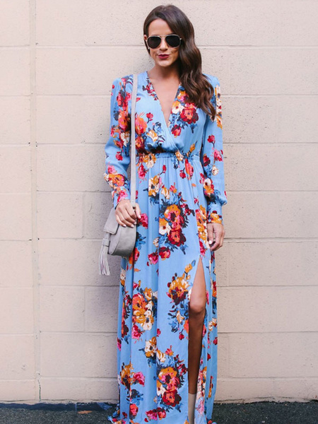 Milanoo Floral Maxi Dress Long Sleeve Tea Dress Split Tie Waist Women Wrap Dress
