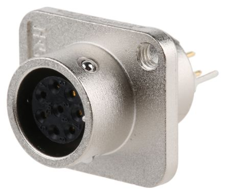 Hirose Connector, 8 contacts Panel Mount Miniature Socket, Through Hole