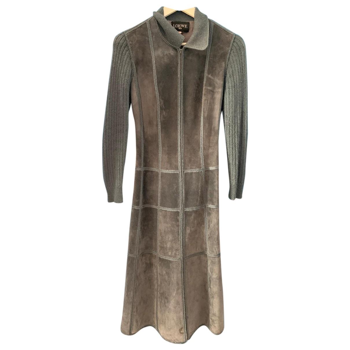 Loewe \N Grey Suede coat for Women 44 FR