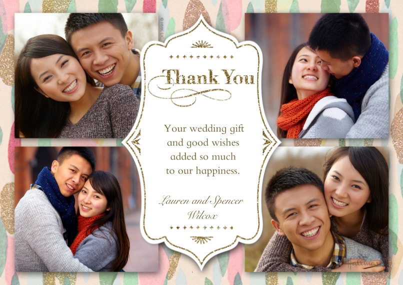 Wedding Thank You 5x7 Cards, Standard Cardstock 85lb, Card & Stationery -Paint and Glitter Thank You