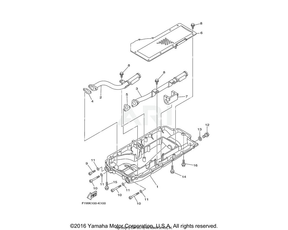 Yamaha OEM 6S5-13406-00-00 OIL PIPE COMP. 2 | E/N 6CN-1005701 - 6CN-1005800