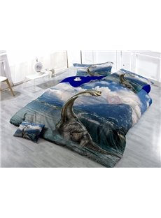 Fancy Dinosaur Wear-resistant Breathable High Quality 60s Cotton 4-Piece 3D Bedding Sets