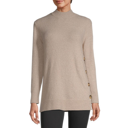 Liz Claiborne Womens Mock Neck Long Sleeve Pullover Sweater, Large , Pink