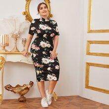 Grosse Grossen - Kleid mit Stehkragen und Blumen Muster