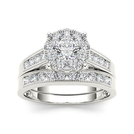 1 CT. T.W. Diamond 10K White Gold Bridal Ring Set, 6 1/2 , No Color Family