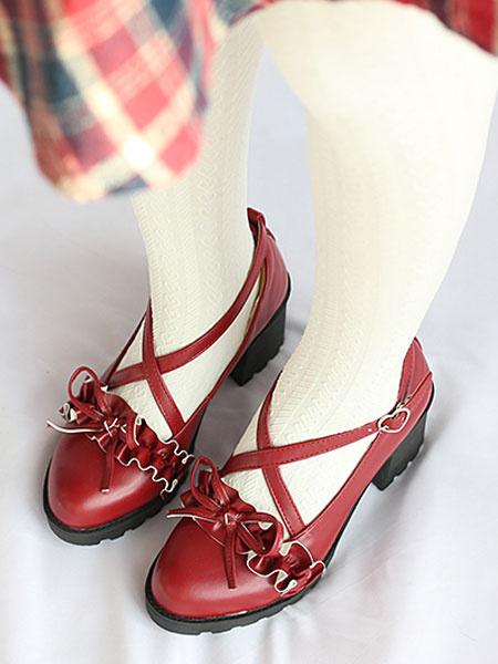 Milanoo Classic Lolita Pumps Bow Ruffle Strappy Chunky Heel Lolita Shoes