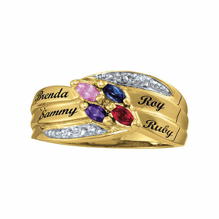 Personalized Family Simulated Birthstones Name Ring, 9 , Yellow