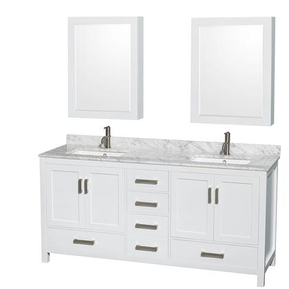 WCS141472DWHCMUNSMED 72 in. Double Bathroom Vanity in White  White Carrera Marble Countertop  Undermount Square Sinks  and Medicine