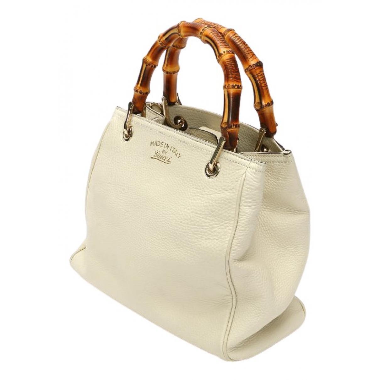 Gucci Bamboo Handtasche in  Weiss Leder