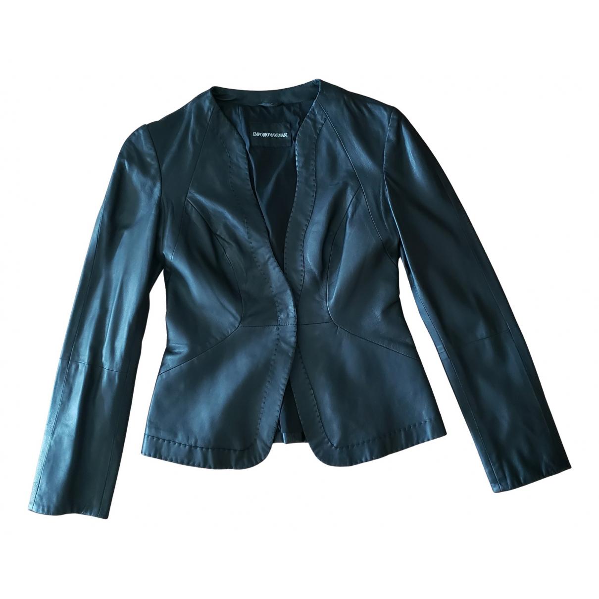 Emporio Armani - Blouson   pour femme en cuir - noir