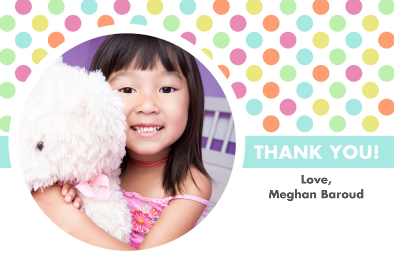Kids Thank You Cards 5x7 Cards, Premium Cardstock 120lb with Elegant Corners, Card & Stationery -Polka Dot Birthday Thank You Card