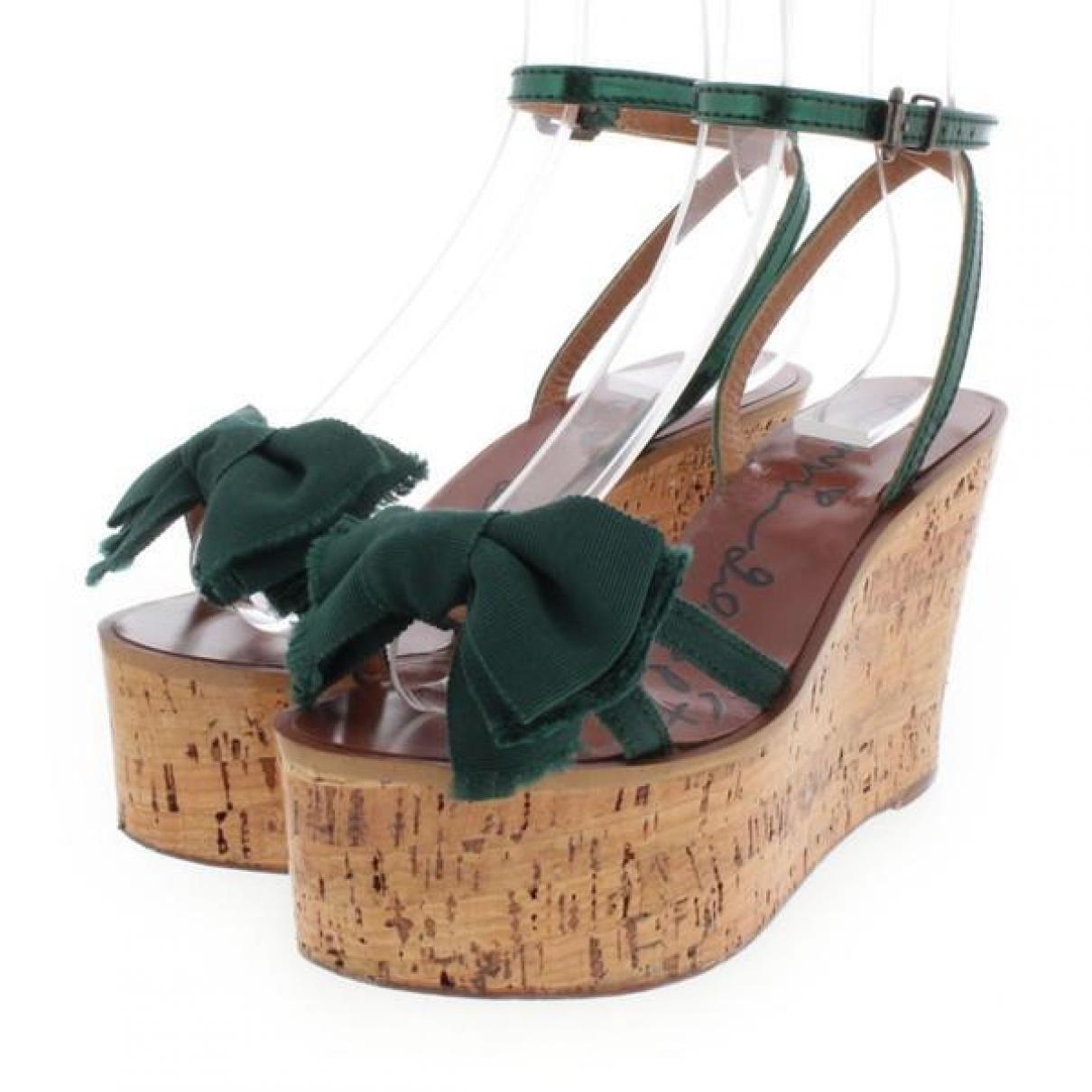 Lanvin - Sandales   pour femme en toile - vert