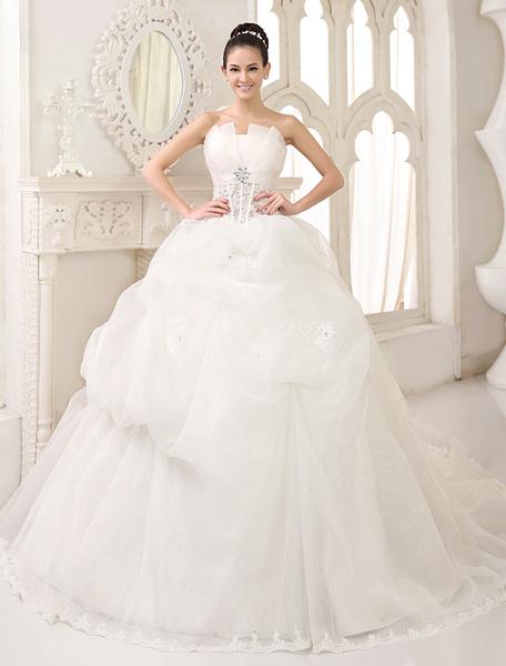 Milanoo Vestido de novia de organza con apliques de cola capilla