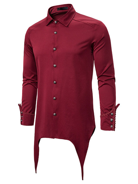 Milanoo Gothic Steampunk Shirt Vintage Victorian Men Renaissance Medieval Shirt