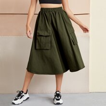 Elastic Waist Flap Pocket Front Skirt