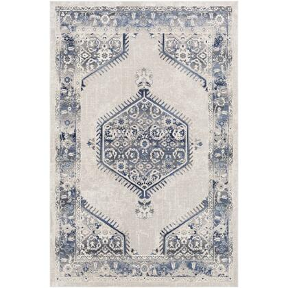 Dublin DUB-2306 311 x 57 Rectangle Traditional Rug in White  Medium Gray  Navy  Denim  Charcoal