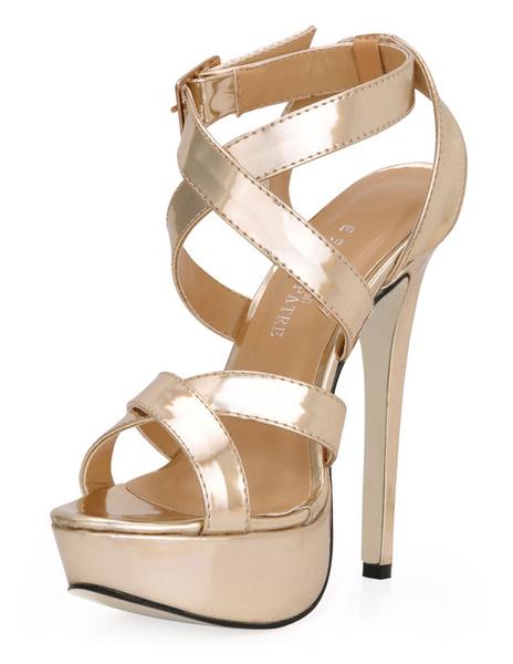 Milanoo Gold Criss-Cross Glazed PU Woman's Gladiator Sandals