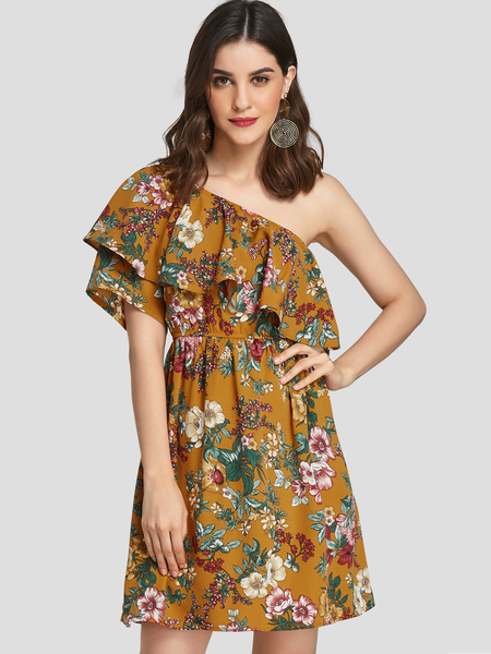 YOINS Yellow Floral Print Double Layer Asymmetrical Loose Waist Dress