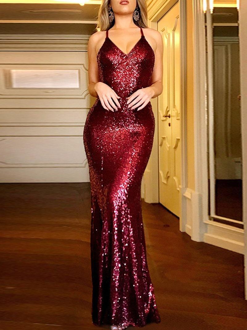 Ericdress V-Neck Sequins Floor-Length Pullover Mermaid Women's Dress