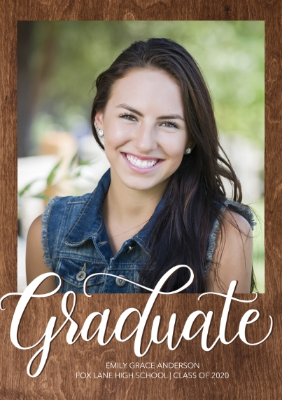 Graduation Announcements 5x7 Cards, Premium Cardstock 120lb with Rounded Corners, Card & Stationery -Graduate Elegant Script by Tumbalina