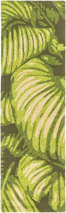 Rain RAI-1264 3' x 5' Rectangle Coastal Rug in Lime  Dark Green  Cream  Ivory  Dark