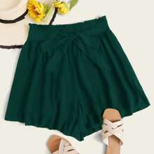 Plus Paperbag Waist Belted Shorts