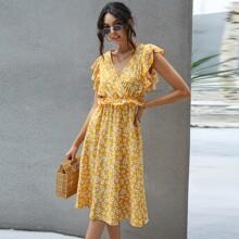 Allover Floral Print Tie Back Surplice Front Dress