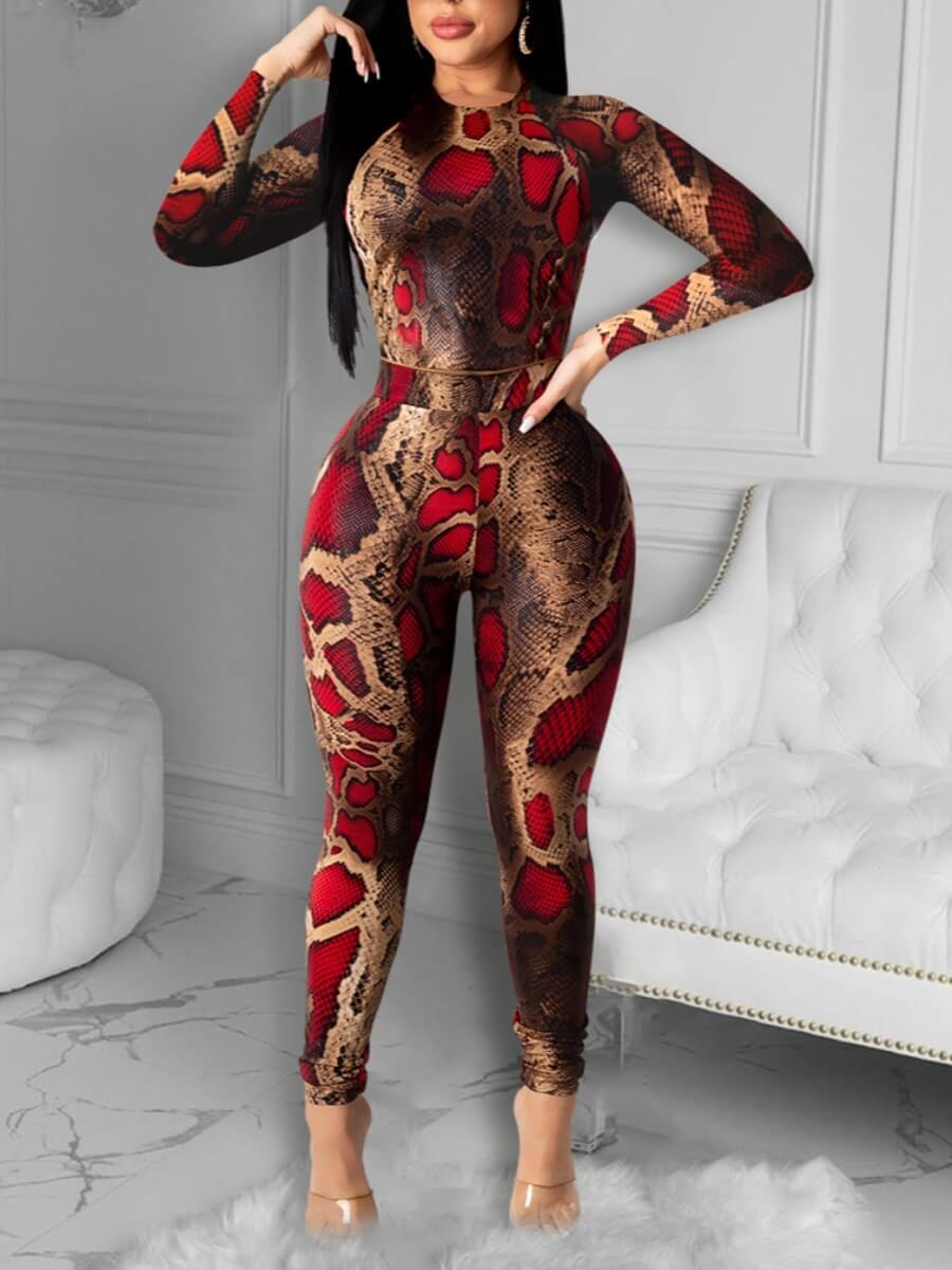 LW Lovely Stylish Animal Print Red Two Piece Pants Set