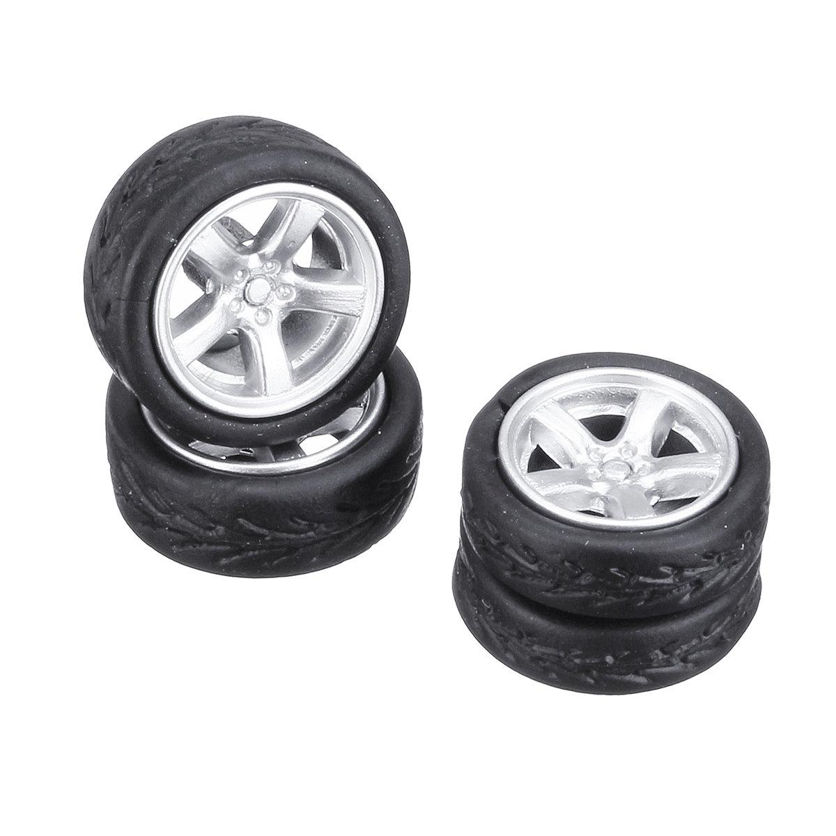 4PCS Alloy Wheels Tire Set Rims & Axles Model Car For 1/64 Modified Vehicle