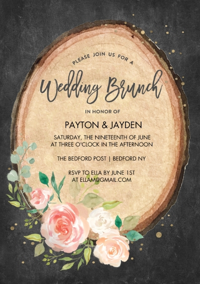 Wedding Shower Invitations 5x7 Cards, Standard Cardstock 85lb, Card & Stationery -Wedding Brunch Wood Cut