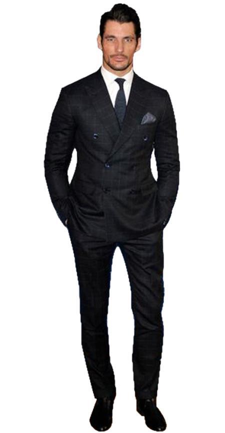 Alberto Nardoni Brand Mens Black Window Pane Double breasted Wool Suit