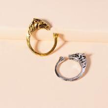 2 Stuecke Ring mit Tier Dekor