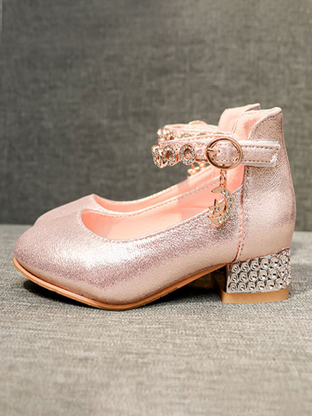 Milanoo Flower Girl Shoes Pink Sequined Rhinestones Party Shoes For Kids