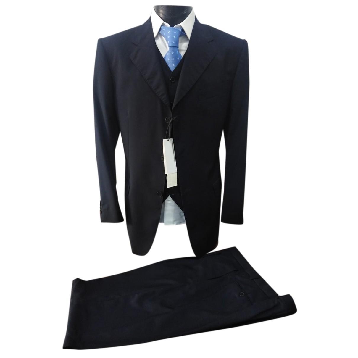 Cerruti N Blue Wool Suits for Men 54 IT