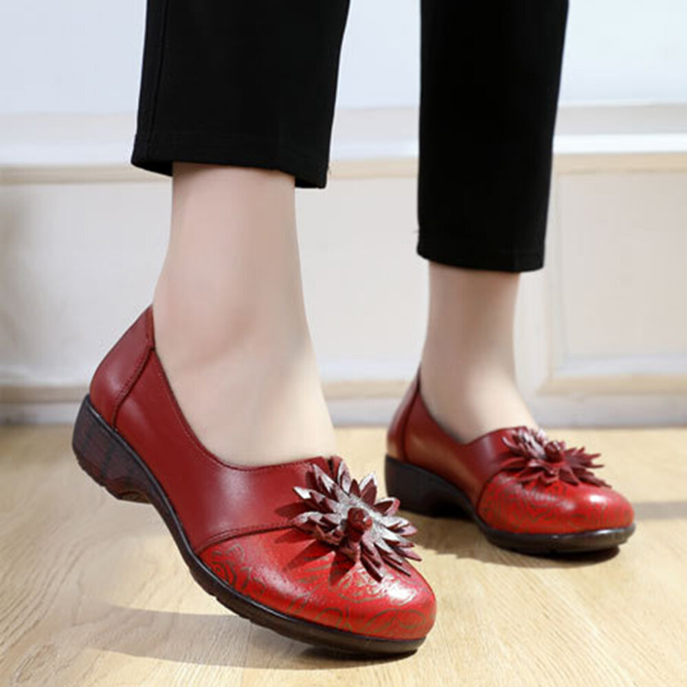 Women Comfy Soft Leather Splicing Flowers Flats