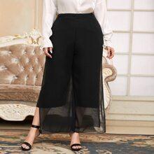 Pantalones Extra Grande Particion Liso Elegante