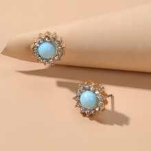 Rhinestone Round Stud Earrings