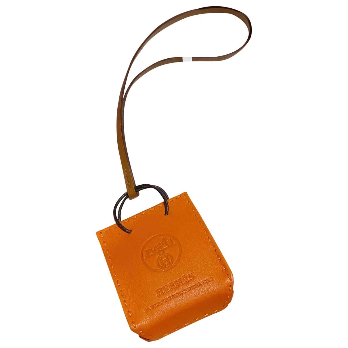 Hermes - Bijoux de sac Shopping bag charm pour femme en cuir - orange