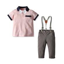 Toddler Boys Bow Neck Polo Shirt & Suspender Pants