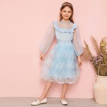 Girls Exaggerate Bishop Sleeve Top and Applique Mesh Overlay Skirt Set