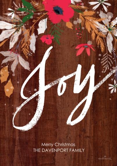 Christmas Photo Cards 5x7 Cards, Premium Cardstock 120lb, Card & Stationery -Joy on Woodgrain