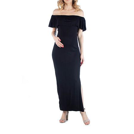 24/7 Comfort Apparel Off Shoulder Ruffle Detail Maxi Dress, Small , Black