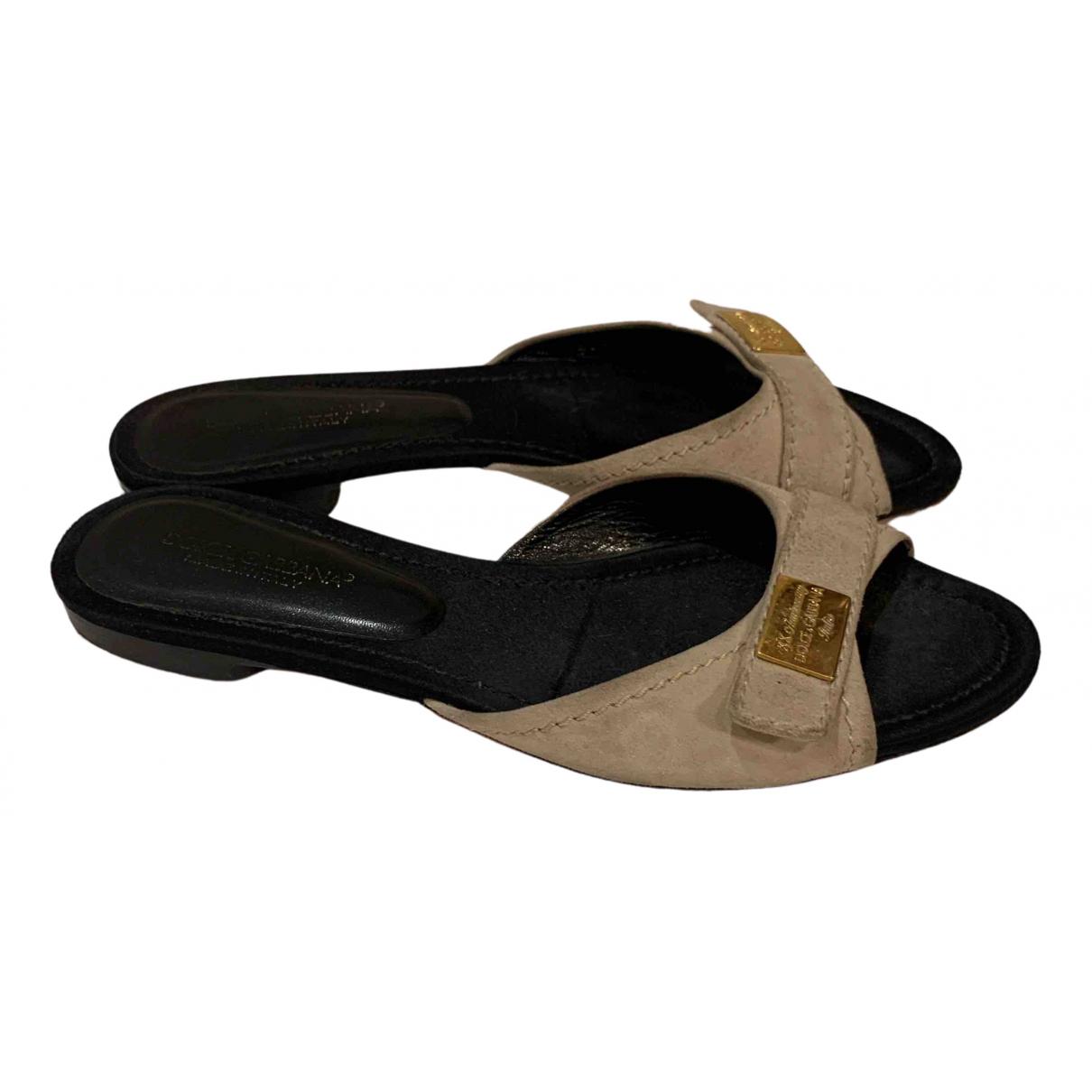 Dolce & Gabbana N Beige Suede Sandals for Women 38.5 EU