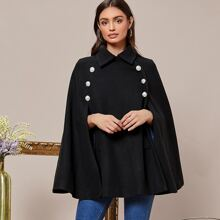 Button Front Cape Coat