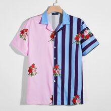 Camisa unida floral de rayas de dos colores de cuello V
