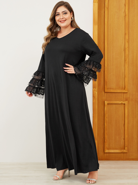 Yoins Plus Size Black Patchwork V-neck Bell Sleeves Dress