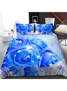 Elegant Blue Roses 3D Printed Polyester 1-Piece Warm Quilt